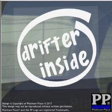 1 x Drifter Inside-Window,Car,Van,Sticker,Sign,Vehicle,Adhesive,Rear,Wheel,Drive